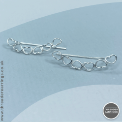 Sterling silver heart ear climbers - front view