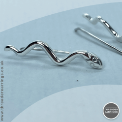 Sterling silver snake ear climbers - side view