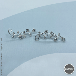 Sterling silver spiral ear climbers - front view