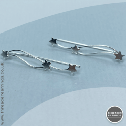 Sterling Silver triple star ear climbers