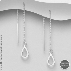 Sterling silver teardrop threader earrings
