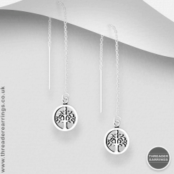 Sterling silver tree of life threader earrings