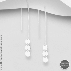 Sterling silver triple circle threader earrings