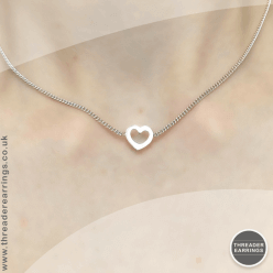 Sterling silver heart choker necklace