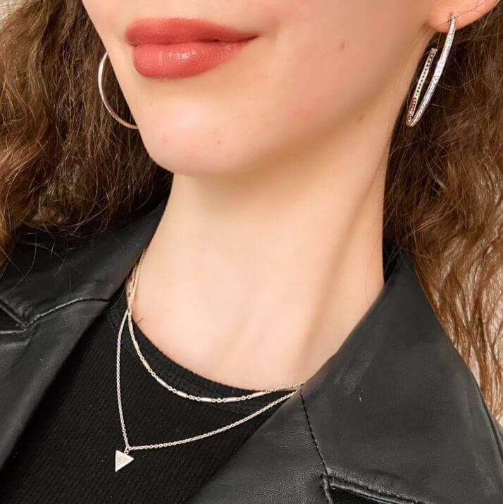 Sterling silver triangle necklace choker