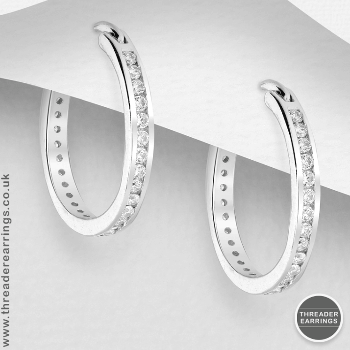 925 Sterling Silver Hoop Earrings Decorated with CZ Simulated Diamonds