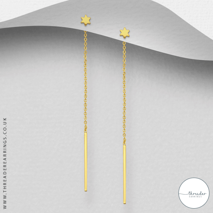 Sterling silver star and bar earrings - gold colourway
