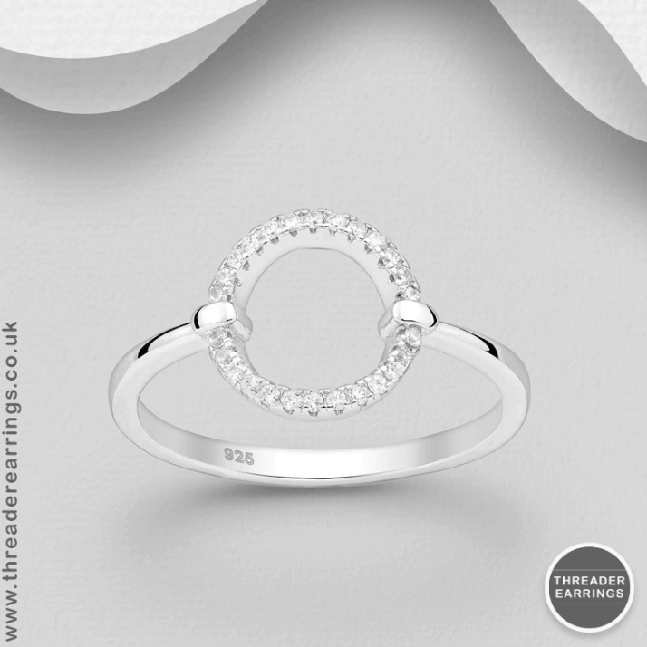 Sterling silver circle ring with CZ