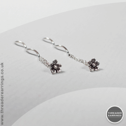 Sterling silver pull-tight threader earrings with flowers