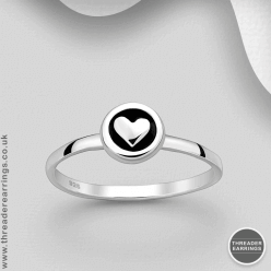 Sterling Silver Circle Heart Motif Ring