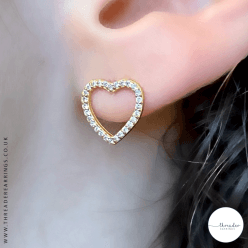 Sterling silver gold plated heart ear studs with CZ