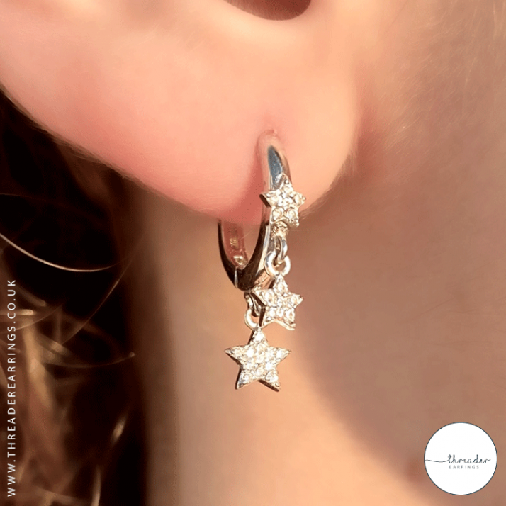 925 Sterling Silver Hoop Earrings Featuring Stars Decorated with CZ Simulated Diamonds