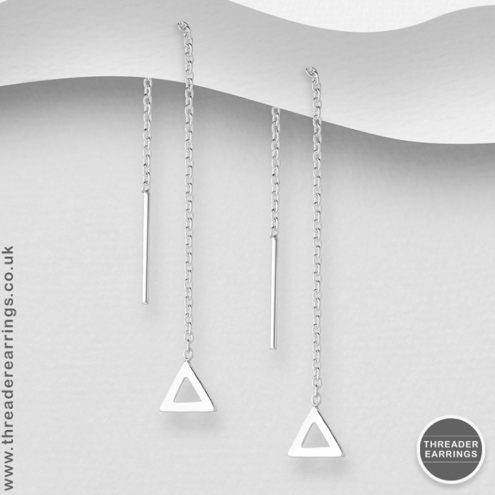 Sterling silver small triangle threader earrings