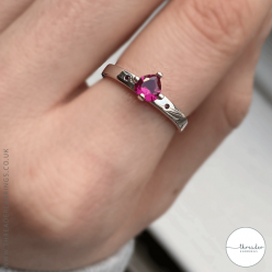 Sterling silver you and me heart ring