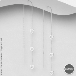 Sterling Silver triple heart threader earrings