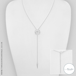 Sterling silver Y horn necklace
