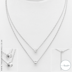 Sterling silver layered necklace with Cubic Zirconia