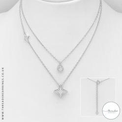 Silver CZ layer necklace