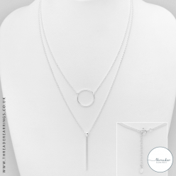 Sterling silver bar and circle layered necklace